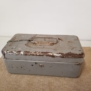 Vintage Industrial Metal Rusty Lock Box with Tray